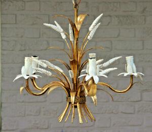 Coco chandel hollywood regency metal brass Wheat sheaf chandelier by MASCA 1950
