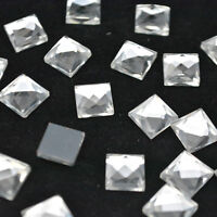 Crystal Clear Square Rhinestone Flat back Facet Chaton Coating Glass Nail Art