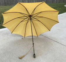 Bakelite Tortoise Vtg Umbrella Handle Parasol Made In USA HJ Woods Yellow