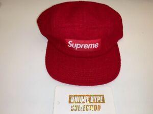 SUPREME 2015 F/W HARRIS TWEED BOX LOGO CAMP CAP HAT RED USED PREOWNED