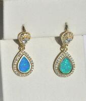 Echt 925 Sterling Silber Ohrringe earrings Zirkonia crystal Opal gold Nr 428