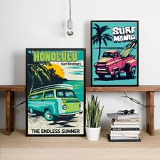 Retro Hawaii Surf Posters Beach Surfing Car Art Canvas Painting Coastal Decor