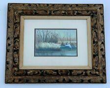 Allen Ulmer Signed Watercolor Painting Wetlands Seascape Egret Birds Asian Style