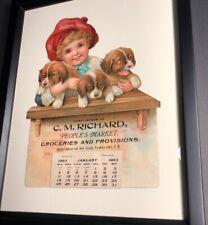 1903 Diecut Calendar Sign Dog Puppies Kid Franklin Falls New Hampshire NH