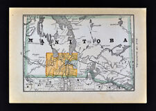 1884 McNally Map Manitoba Winnipeg Portage Brandon Selkirk Lake of Woods Canada
