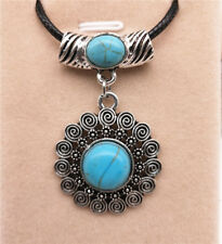 Fashion Jewelry Antique Silver Turquoise Pendant  Rhinestone Necklace Gift L06
