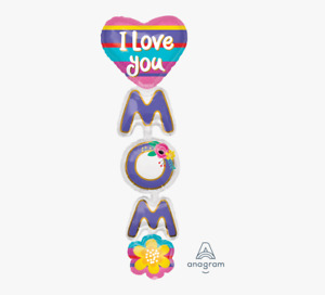 """66"""" Giant I Love You Mom Multi Balloon Helium Mother's Day Over 5 Feet"""