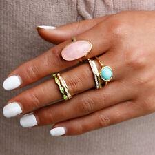 NEU Ringset 6 Teilig Eleganter Stil gold türkis rosa Strass Trend Gr.51-57 H37