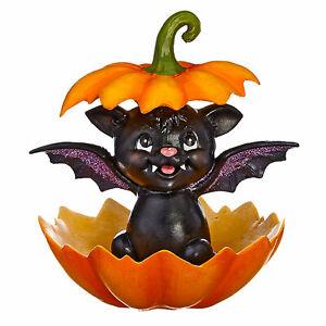 Baby Bat In Pumpkin Glitter Classic Cute Halloween Figure Decor Candy Dish