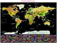 MAPA MUNDI RASCAR GRANDE SCRATCH OFF CON ESTADOS Y BANDERAS PAISES 82 x 59 CM