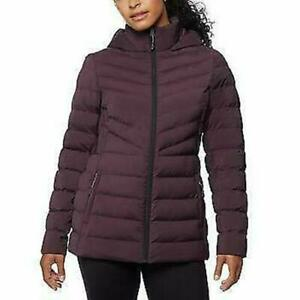 32 Degrees Womans Hooded 4-Way Stretch Jacket Zip Up Puffer Acai Berry Purple M