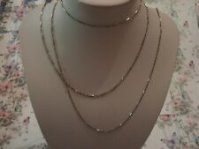 Beautiful Antique Edwardian Finely Crafted Solid Silver 58 Inch Chain Necklace