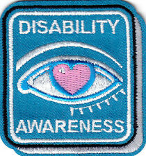 """DISABILITY AWARENESS"" - MEDICAL - DISABLED - IRON ON EMBROIDERED PATCH"