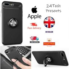 Auto Focus ShockProof Case Apple iPhone 8 Back Phone Cover Ring Stand Black