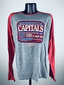 Men's CCM Washington Capitals 1989 Patrick Division Champs Long Sleeve NWT 2XL