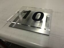 Modern House Number Plaque. Acrylic  Sign With Brushed Effect Back. Door Number
