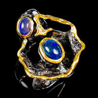 Beauty Rainbow8x6mm Natural Black Opal 925 Sterling Silver Ring Size 6/R125190