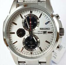 Seiko Analog Business Watch Solar Chronograph Silver Mens SSC083P1