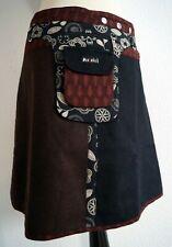 504 Moshiki Wrap Skirt Wool Skirt XL Black Dark Brown Length 48 CM