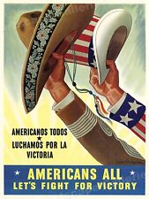 Fight For Victory! 1943 Mexican American WWII Poster - 18x24