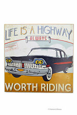 "12"" Auto Car Travel Vintage ""Life Is A Highway"" Inspirational Wall Sign Plaque"