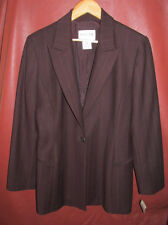 Oscar de la Renta Chocolate Brown Pinstripe Wool Blend Blazer Sz 10 NOS $475 Tag