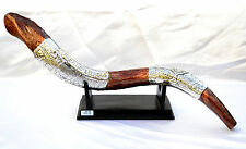 "Decor big Shofar-22"" & stand Ram Horn- Silver 925 Jerusalem Design statue Brown"