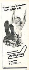 PUBLICITE ADVERTISING 034 1960 COLLEGIEN chaussettes  solides irrétrécissables