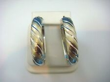 ! SPECIAL WIDE SILVER AND GOLD TONE OVAL HOOP EARRINGS MADE IN ITALY.