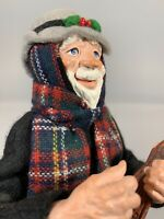 """Simpich Mandolin Player 13"""" Hand Carved Figure Caroler Character Doll"""