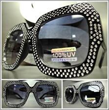 OVERSIZED EXAGGERATED VINTAGE RETRO Style SUN GLASSES Large Bling Black Frame