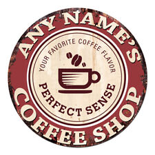 CP-0084 ANY NAME'S COFFEE SHOP Custom Personalized Chic Tin Sign Decor Gift idea