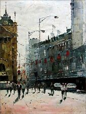 Stretched, European Street with Passengers, Hand Painted Oil Painting  36x48in