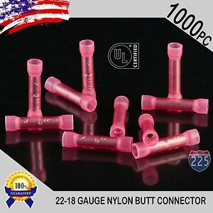 1000 Pack 22-18 Gauge AWG Wire Butt Connector Red Nylon Crimp Insulated Terminal
