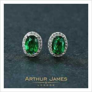 White Gold 4 Ct Green Emerald Oval Diamond Halo Stud Push Back Women Earrings