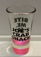 "Joe's Crab Shack ""Bite Me"" Pink Bottom Tall Shot Glass Souvenir New"