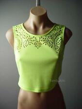 Cyber Punk Goth Neon Lime Laser Cut Design Midriff Cropped Top 89 df Blouse S