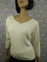 Ann Taylor Silk Cotton Sweater Womens Size L Cream V Neck Sequined Career