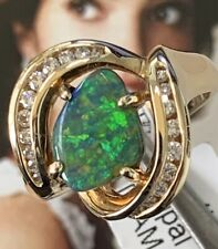 Lightning Ridge Black Opal and Diamond Gold Ring