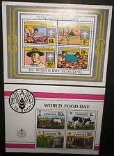 Tanzania 1982 MNH 2 SS 75th Anniversary Boy Scout and World food day