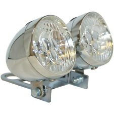 DOUBLE FRONT LIGHT SET WITH BRACKET INCLUDED CYCLE BIKE CHROME LED HEADLIGHT