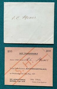 Antique Royal British Ticket Trade Door Buckingham Palace King George Coronation