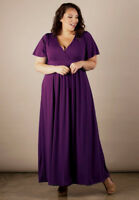 Plus Size Maxi Dress 1X-6X SWAK Short Sleeve Polyester USA Made V Neck Purple