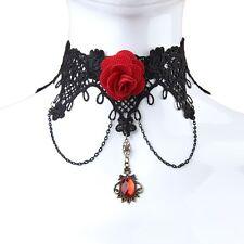 Women Retro Gothic Lolita Lace Gem Rose Necklace Choker Cosplay Costume