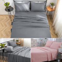 4 Pieces Bed Sheet Set Queen - Flat Sheet Fitted Sheet Envelope Pillow Case Soft