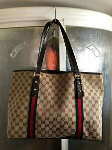 Gucci GG Logo Sherry Line Canvas Monogram Medium Charm Tote Designer Handbag