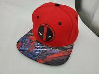 Marvel Comics Deadpool Dead Pool Snap Back Hat Cap Adjustable Red Flat Bill