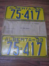1933 Alberta Canada Mint 85 Year Old Passenger license Plate Set 75417
