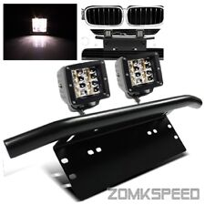 Front Bull Bar License Plate Mounting Bracket + 2PC 24W Offroad LED Flood Lights