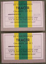 CALIBER .30 M1 TRACER WW2 NEW REPLICA 20 ROUND AMMO BOX (2 PCS) - DES MOINES ORD